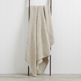 Chunky Moss Knit Grey Throw