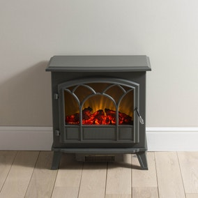 Large Gunmetal Stove Effect Heater 1850W