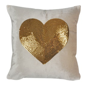 Gold Sequin Alphabet Heart Cushion