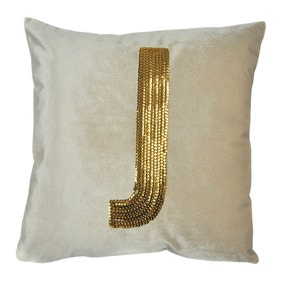 Gold Sequin Alphabet Letter J Cushion