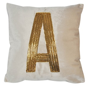 Gold Sequin Alphabet Letter A Cushion