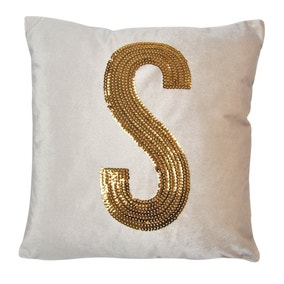 Gold Sequin Alphabet Letter S Cushion