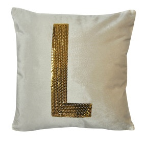 Gold Sequin Alphabet Letter L Cushion