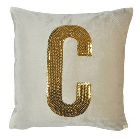 Gold Sequin Alphabet Letter C Cushion
