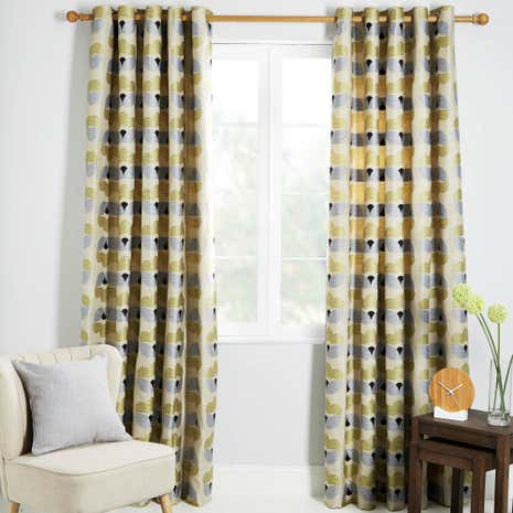 Anderson Yellow Lined Eyelet Curtains