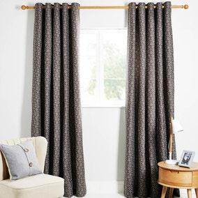 Venus Grey Lined Eyelet Curtains