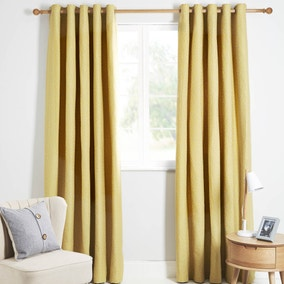 Venus Ochre Lined Eyelet Curtains