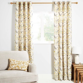 Ontario Ochre Lined Eyelet Curtains