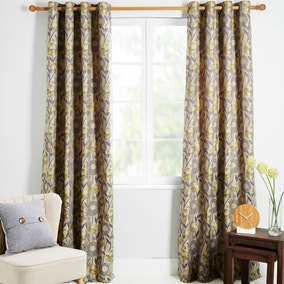 Livorno Yellow Lined Eyelet Curtains
