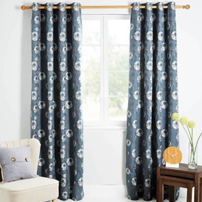 Livorno Teal Lined Eyelet Curtains