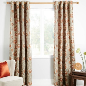 Livorno Orange Lined Eyelet Curtains