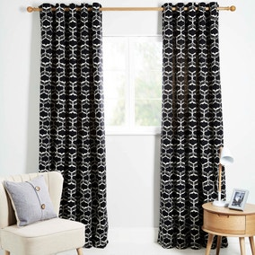 Freya Black Lined Eyelet Curtains