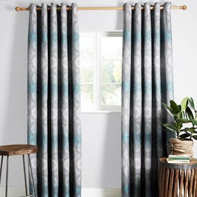 Chenai Teal Lined Eyelet Curtains