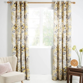 Annika Ochre Lined Eyelet Curtains