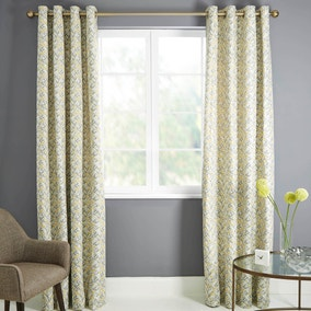 Astra Ochre Lined Eyelet Curtains