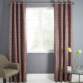 Astra Pink Lined Eyelet Curtains