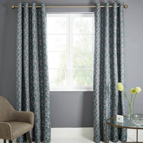 Astra Teal Lined Eyelet Curtains