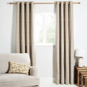 Iona Yellow Lined Eyelet Curtains