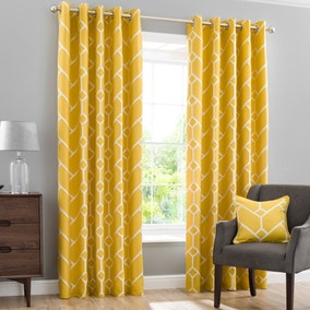 Seville Yellow Lined Eyelet Curtains