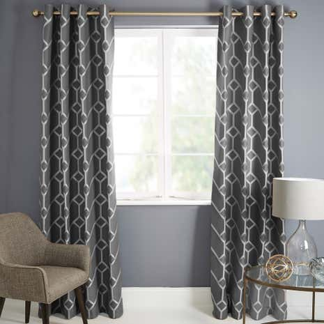 Seville Charcoal Lined Eyelet Curtains