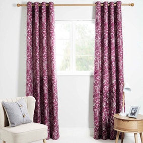 Shimla Pink Lined Eyelet Curtains