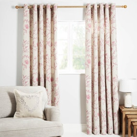 Genevieve Pink Lined Eyelet Curtains