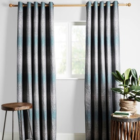 Jaipur Teal Lined Eyelet Curtains