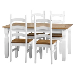 Corona White 4 Seater Dining Set