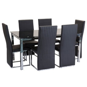 Tempo 6 Seater Glass Top Dining Set