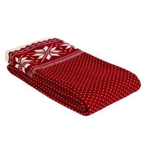Snowflake Red Knitted Throw