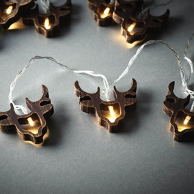 Set of 10 Wooden Stag Head String Lights