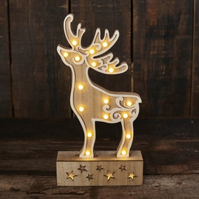 Light up LED Wooden Stag Ornament