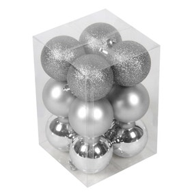 Pack of 12 Grey Baubles