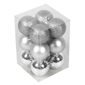 Pack of 12 Silver Baubles