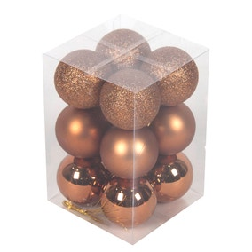 Pack of 12 Copper Baubles