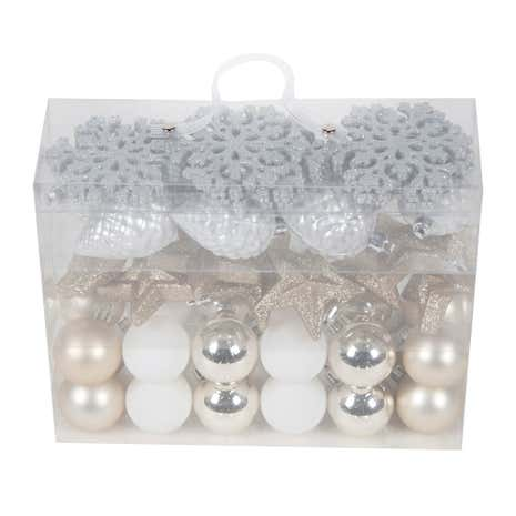 Pack of 50 Assorted Silver Decorations