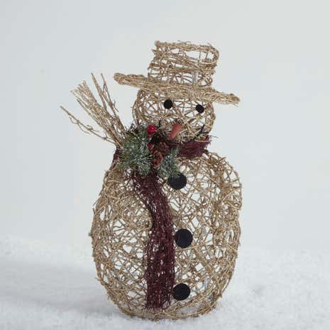 Gold Rattan Light Up Snowman