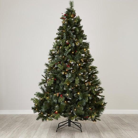 7FT Pre-Lit Lowland Fir Berry Christmas Tree | Dunelm