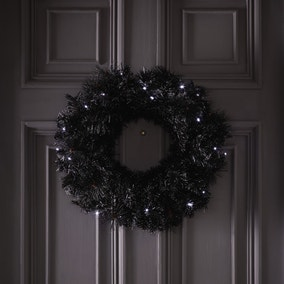 Black Pine Needle Light Up Wreath