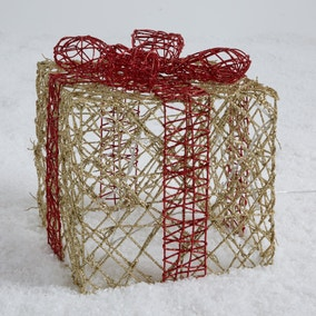 Red and Gold Rattan LED Light Up Parcel