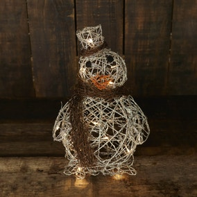 Silver Glitter Rattan Light Up Penguin