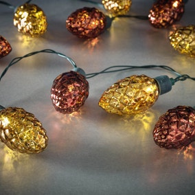 Set of 10 Decorative Pine Cone String Lights