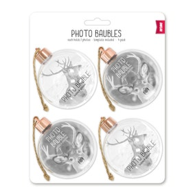 Pack of 4 Gold Photo Baubles