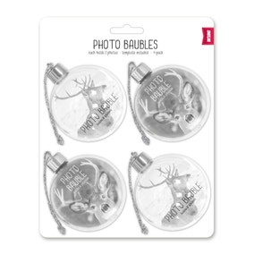 Pack of 4 Silver Photo Baubles