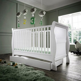 Izziwotnot Bailey White Cot Bed and Under Drawer