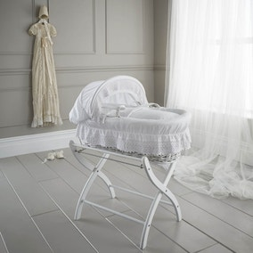 Izziwotnot White Royal Lace Wicker Moses Basket with White Lining