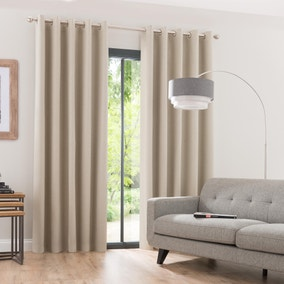 Luna Brushed Oatmeal Blackout Eyelet Curtains