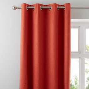 Luna Burnt Orange Blackout Eyelet Curtains
