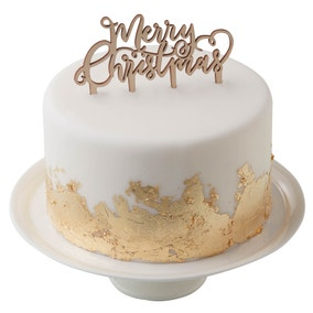 Merry Christmas Wooden Cake Topper