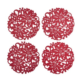 Pack of 4 Poinsettia Placemats